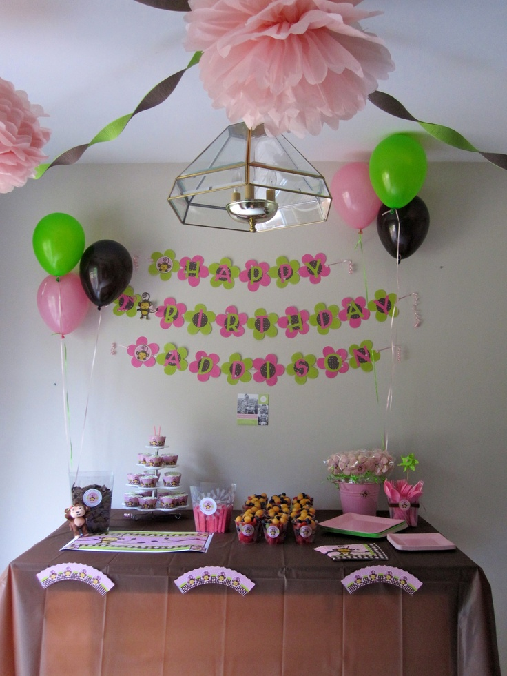 Pin By On Monkey Girl Baby Shower Birthday Pa