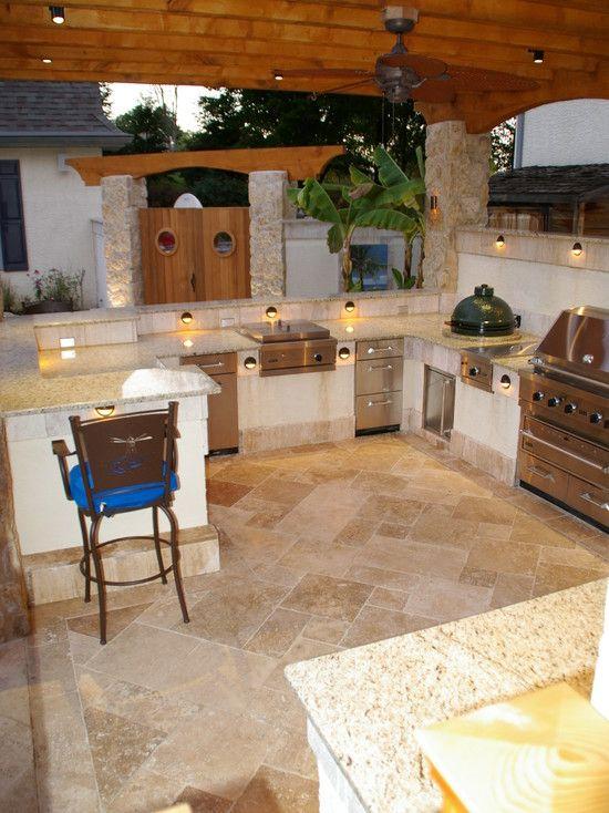 Outdoor kitchens design lighting outdoor spaces for Outdoor kitchen living room designs