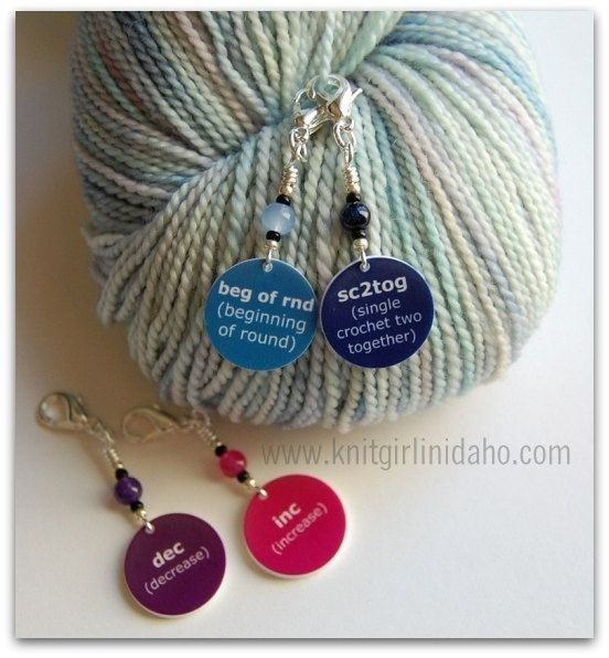 Crochet Stitches Terminology : Removable Crochet Terms Stitch Markers Set of 4 by KnitGirlinIdaho, $ ...