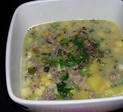 Southwestern Corn and Sausage Soup | For The Love Of Food | Pinterest