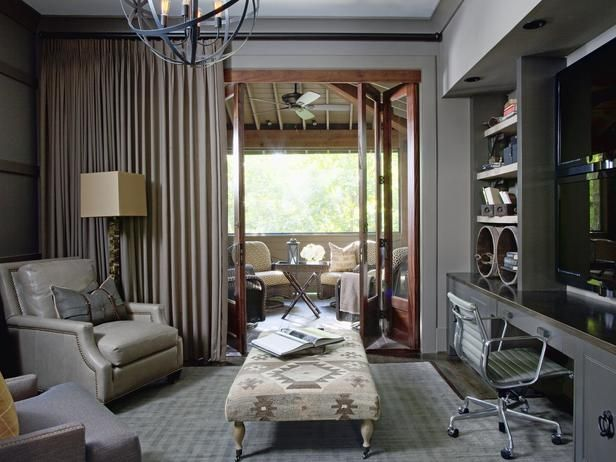 This room has it all. A home office, a media room, a cozy den and an outdoor living room all coexist within a refined palette.