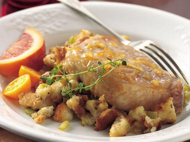 Orange-Glazed Pork Chops with Herb Stuffing   Recipe