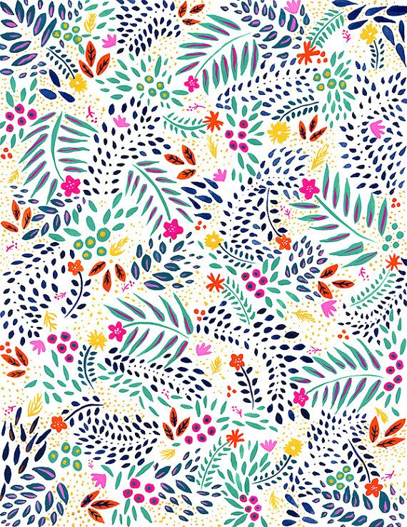 Watercolor Painting Floral Pattern Colorful Gouache Archival Print 11x14