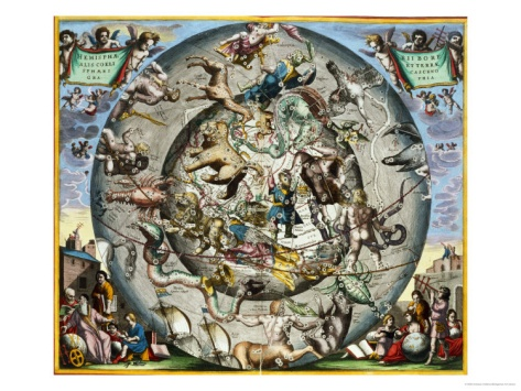 Map of the Constellations of the Northern Hemisphere Giclee Print by ...