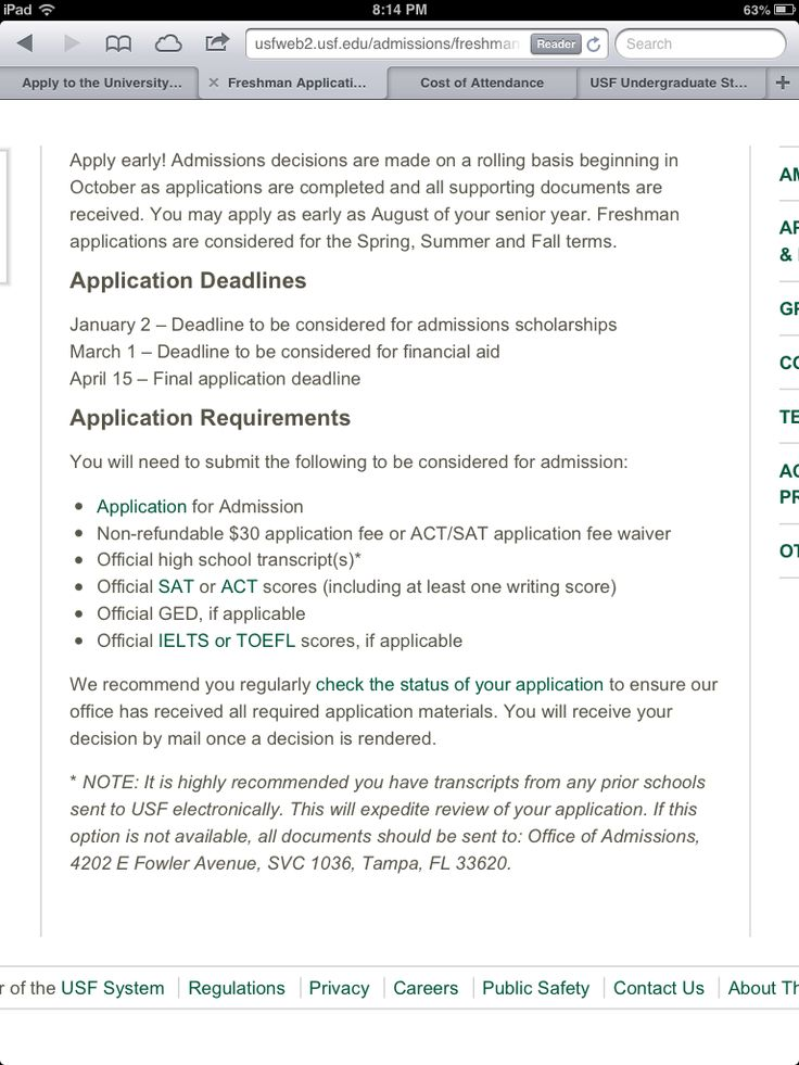 University of south florida application essay