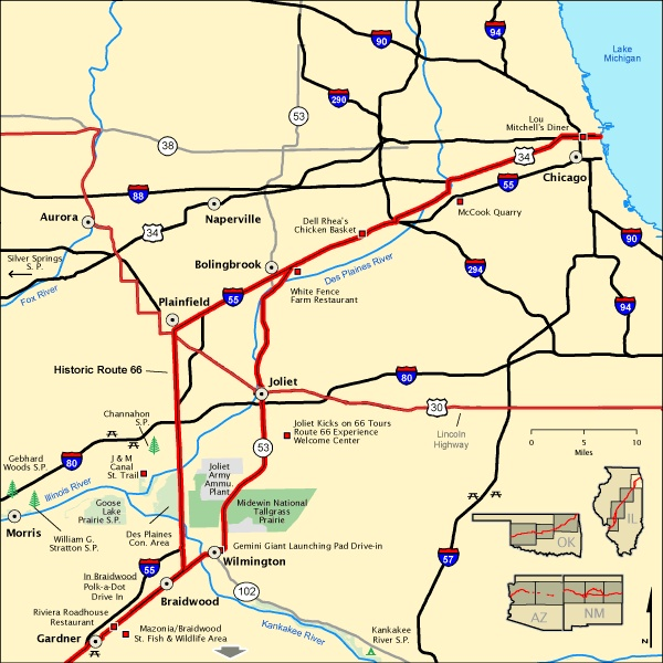 Map Of Route 66 Near Chicago IL  Route 66  Pinterest