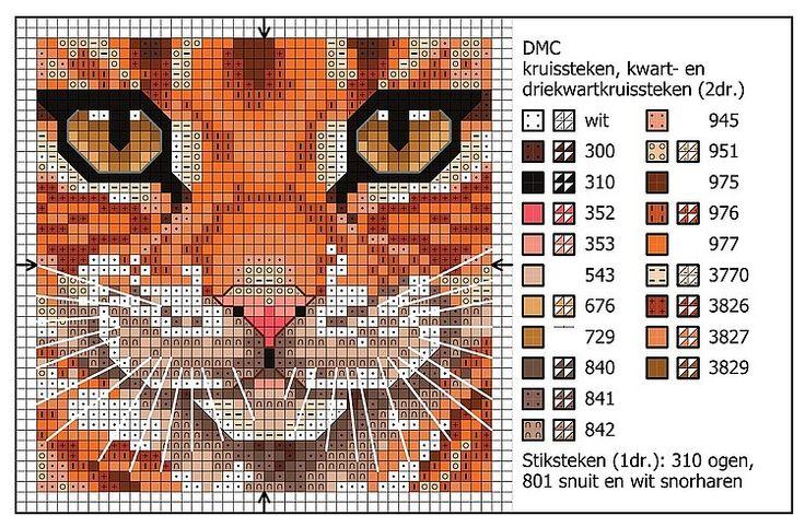 Схема вышивки кошки крестиком 85