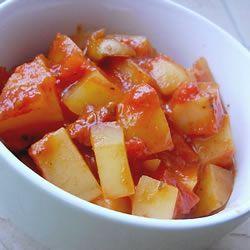 "Greek Potato Stew   ""Kalamata olives, plump tomatoes, oregano, olive ..."
