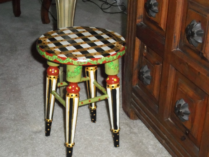 whimsical painted stool one of a furniture