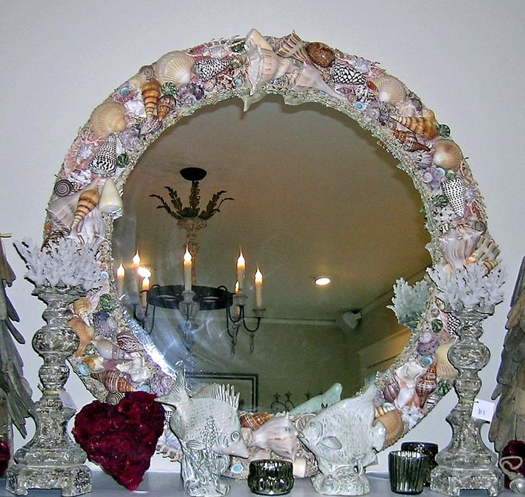 Round natural tan seashell mirror shell chic pinterest for Floor mirror italian baroque rococo style in lacquer finish