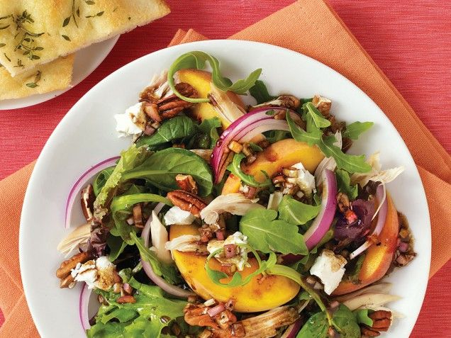 roast chicken salad with peaches goat cheese amp pecans summer salads