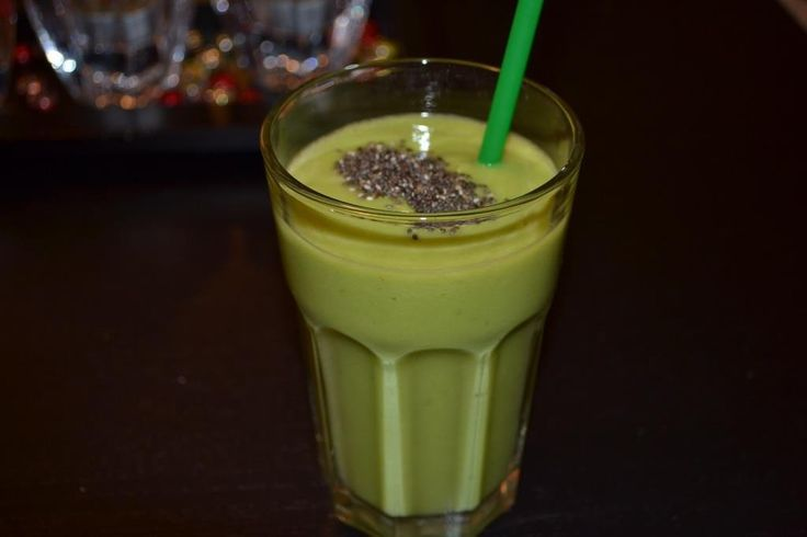 Pineapple, pear, cucumber, avocado smoothie with chia seeds