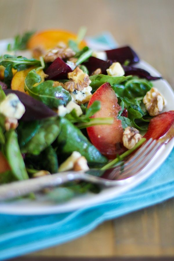 Roasted Beet Salad with peaches, pluots and blue cheese