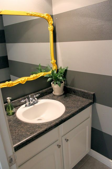 Yellow and grey with navy accents bathroom pinterest - Bathroom yellow and gray ...