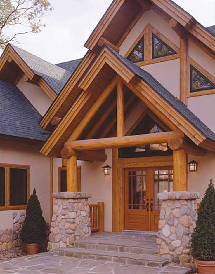 Stucco With Log Or Timber Accents Timber Style Hybird