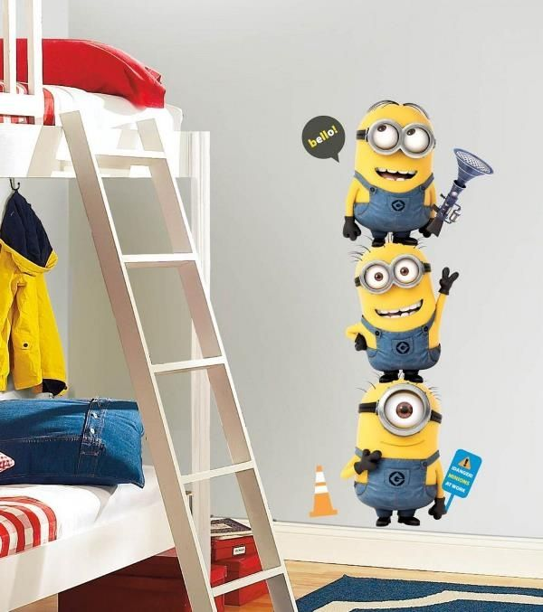 Despicable me minions wallpaper and wall sticker on kids bedroom