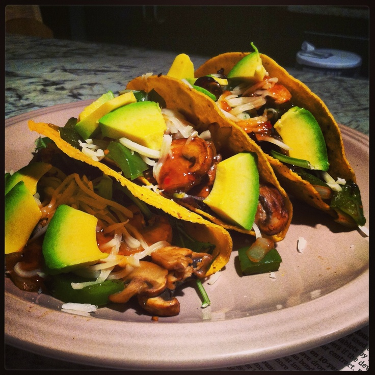 My new veggie invention: Baby portobello mushroom whole grain tacos ...