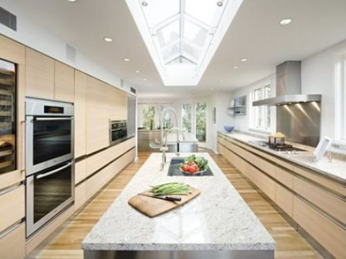Galley kitchen with island layout kitchens pinterest for Pictures of galley kitchens with islands
