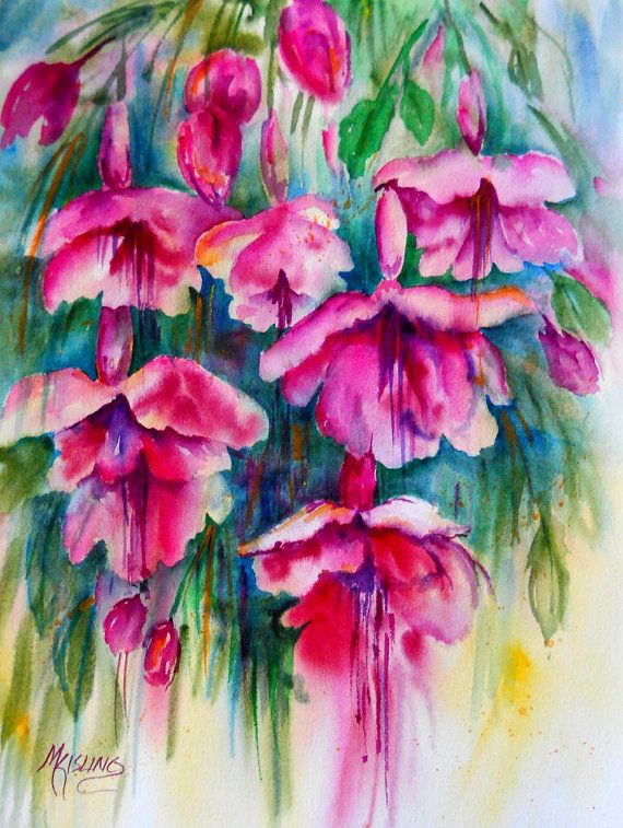 bright pink magenta flower painting by watercolor artist