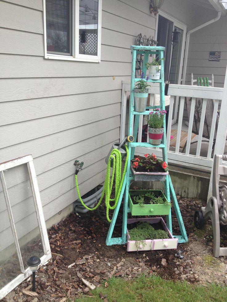 Old ladder plant stand  crafty  Pinterest