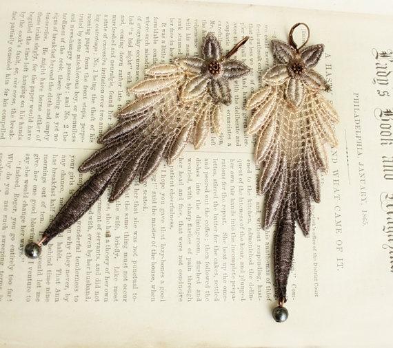 lace earrings DELPHIA ombre gray ecru by tinaevarenee on Etsy, $26.00