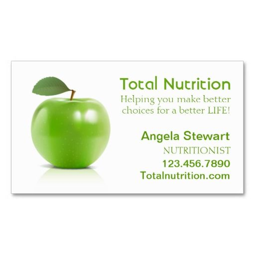 Nutritionist with Apple Business Card Template
