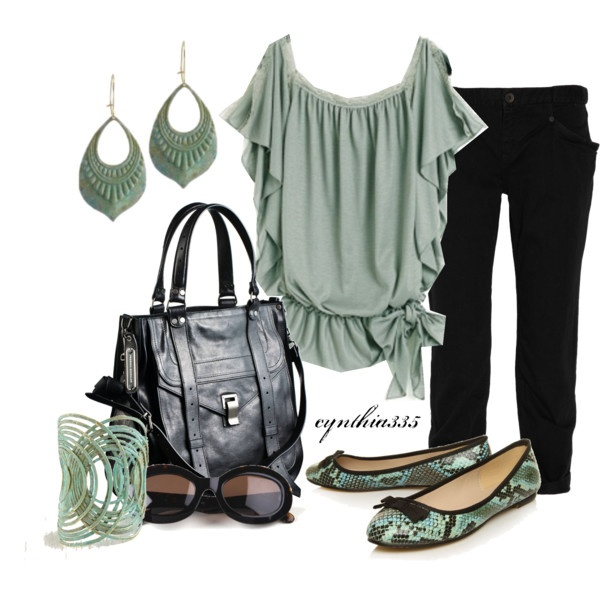 Mint and Black, created by cynthia335 on Polyvore