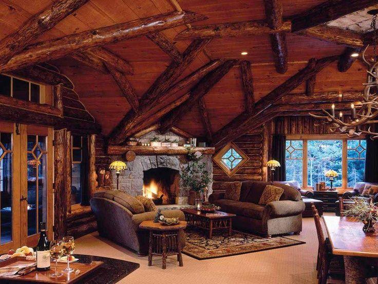 Log Cabin Interior HOMEY OR COZY Pinterest