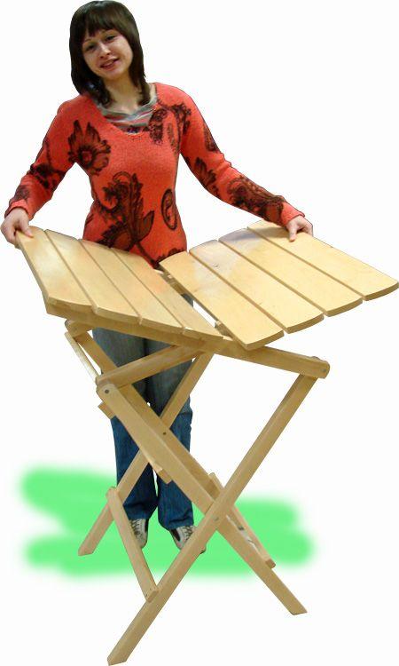 Раскладной стол и стул из дерева