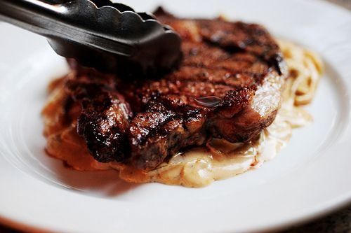 """TPW's Ribeye Steak with Onion-Blue Cheese Sauce...this """"sauce"""" ..."""