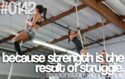 Strength is the result of struggle.