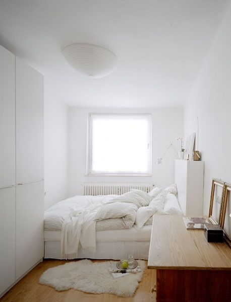 All white small bedroom interior spaces and design for All about interior design