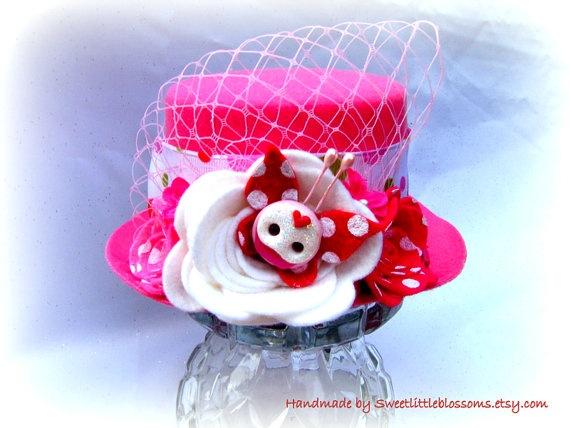 Birthday Cupcake Polkadot Wool Felt Mini by Sweetlittleblossoms