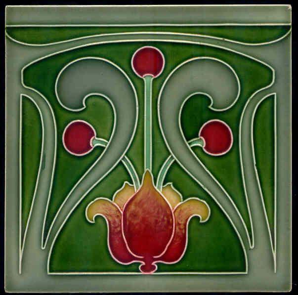 Superb Art Nouveau Arts Amp Crafts Tiles Plaque Fireplace
