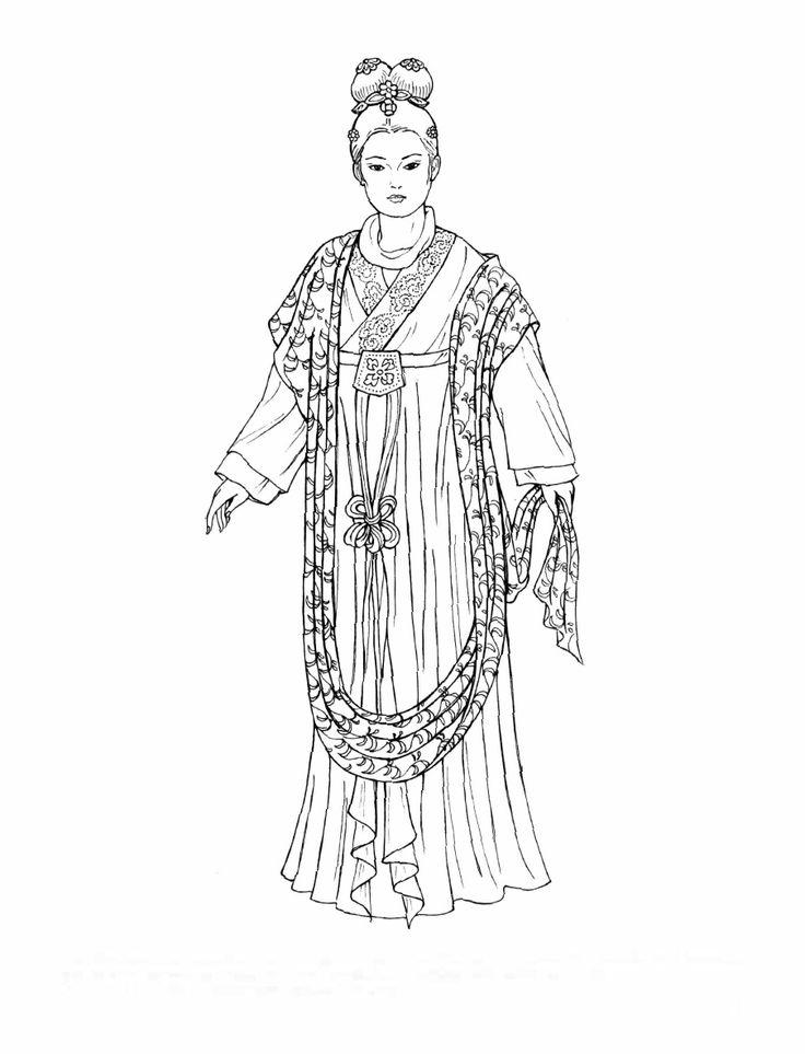 Раскраска китайская одежда