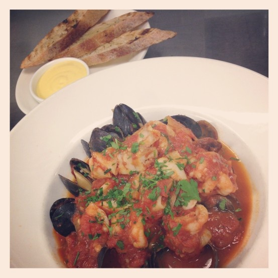 (traditional French Provençal fish stew) with red grouper, mussels ...