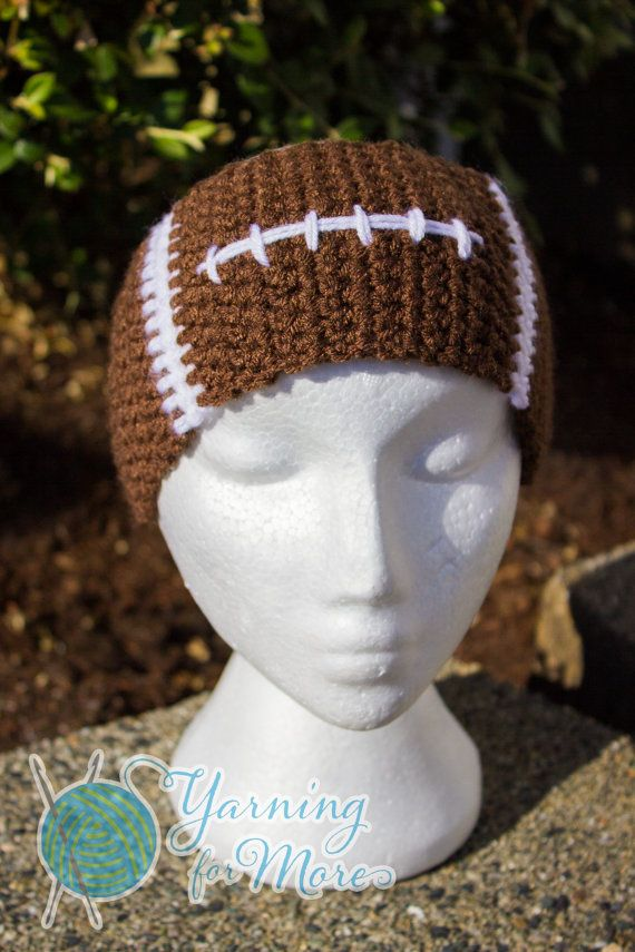Free Crochet Pattern For Softball Headband : Crochet Football Ear Warmer Headband