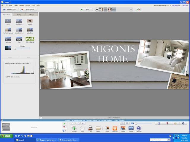 Blog header using picasa // Migonis Home: Designing a Blog Header: pinterest.com/pin/150448443773770221