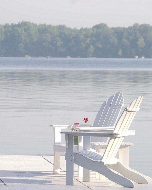 adirondack chairs lake lakehouses lakes pinterest
