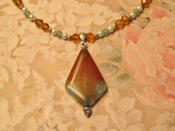 DragonVein Agate Pendant on Emerald Aventurine by #RomanticThoughts #jewelry