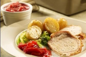 Roasted Pork Loin with Plum Ginger Chutney Cabbage & Potatoes from ...