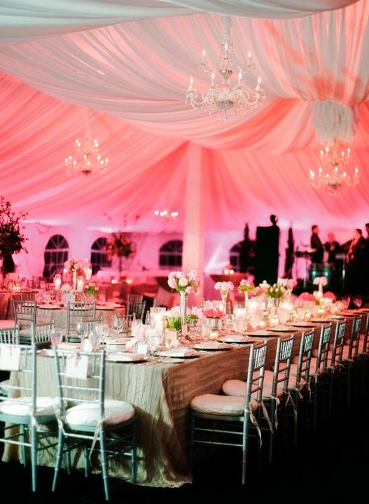 gorgeous pink uplights - tented wedding