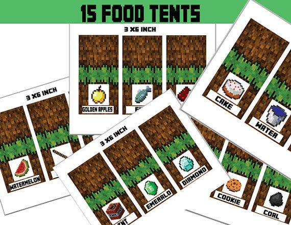 Minecraft Food Tent Cards, Minecraft Decoration, Party Favors, Food Labels - Minecraft Party Instant Download