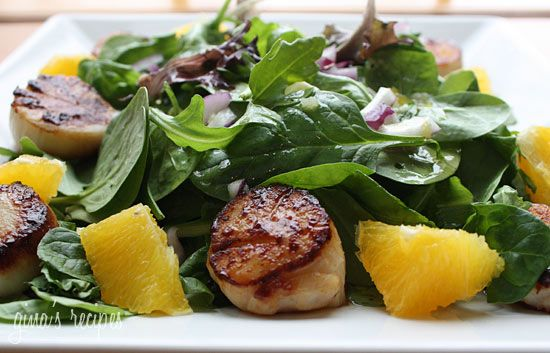 Pan Seared Scallops with Baby Greens and Citrus Mojo Vinaigrette   Re ...