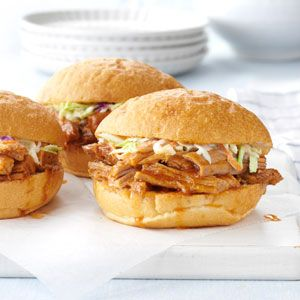 Slow Cooked Barbecued Pork Sandwiches | Recipe