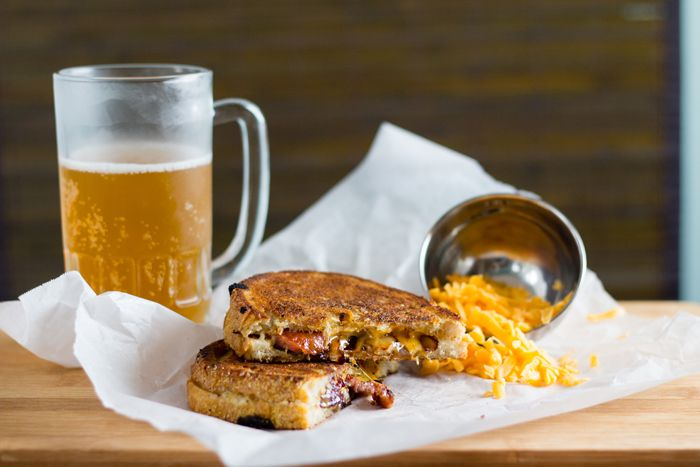Beer & Conecuh Grilled Cheese. #grilled #sandwich #recipe
