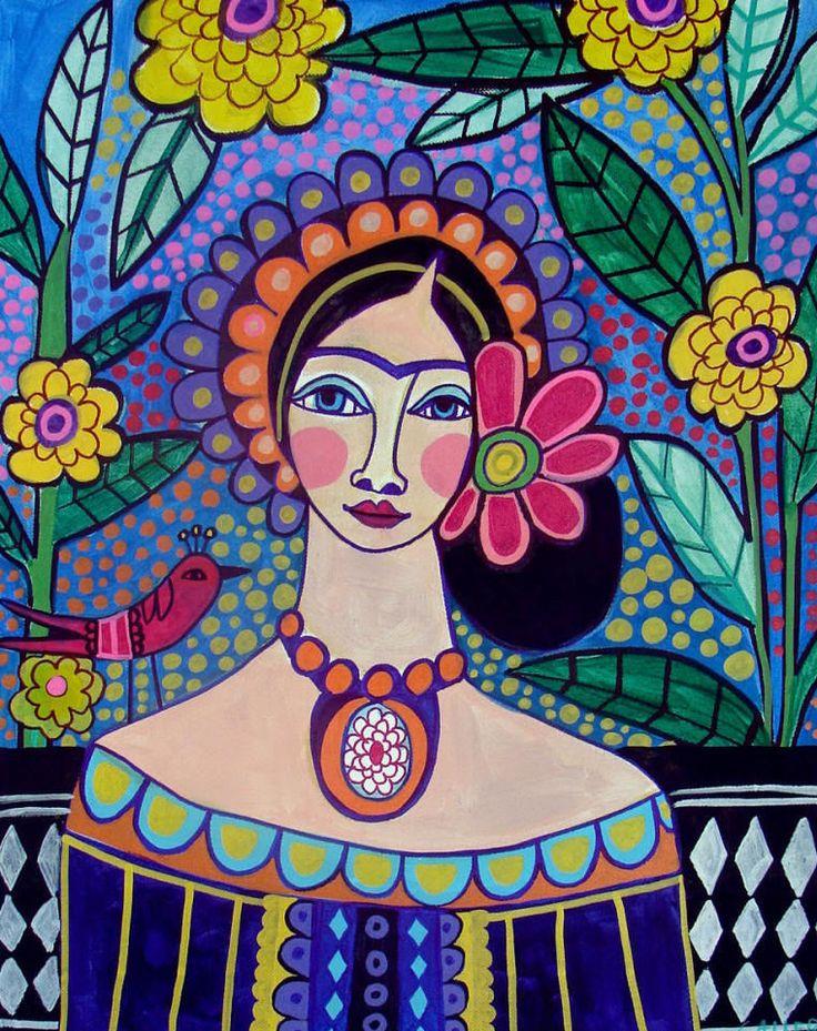 Frida kahlo art print mexican folk art poster contemporary for Modern art prints posters
