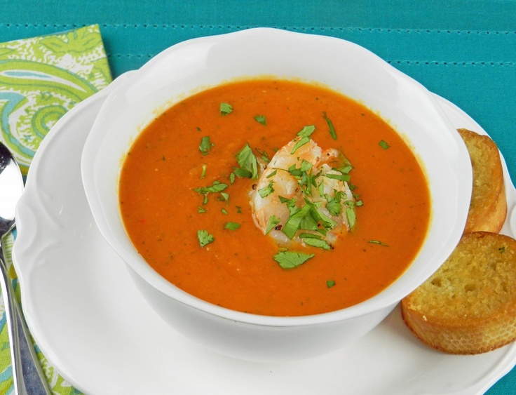 Roasted Red Pepper Soup with Grilled Shrimp-omit potatoes and carrots ...