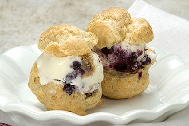 Whole Grain Profiteroles with Blueberry Cream Pie Ice Cream