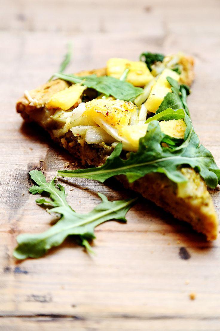 Vegan Whole Wheat Pineapple Arugula Pesto Pizza and Dough
